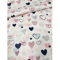 Польский хлопок  50х160см Сердца розово-черные