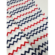 Ткань хлопковая Польша 50*160см зиг-заг сине-красный