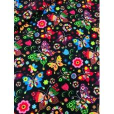 Ткань хлопок Польша Разноцветные бабочки 50*160
