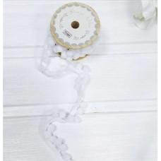 Тесьма с помпонами Польша, 1см, 1м белый цвет
