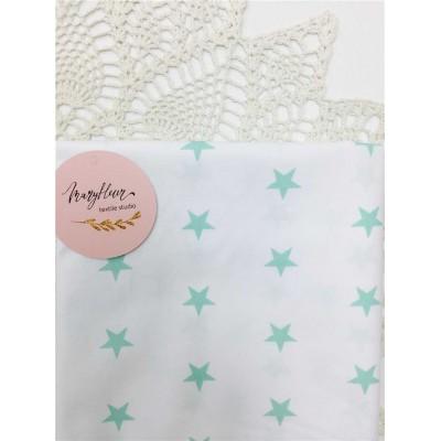 Хлопковая ткань Польша Мятные звезды на белом 50х160см