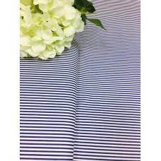 Хлопковая ткань Польша 50*160см полоска синяя 2мм на белом