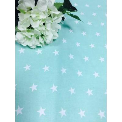Хлопковая ткань Польша 50*160см Белая звезда на мятном
