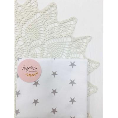 Хлопковая ткань Польша 50*160см Серая звезда на белом