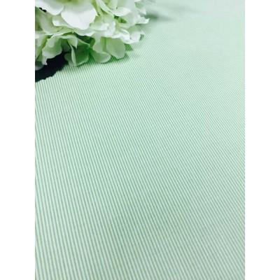 Хлопковая ткань Польша 50*160см Мелкая светло-зеленая полоска