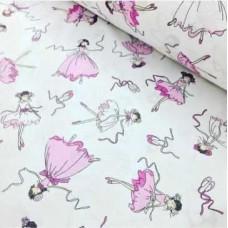 Ткань хлопковая Польша Балерины на белом 50*160