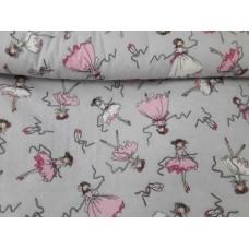 Хлопковая ткань Польша 50*160см Балерины на сером