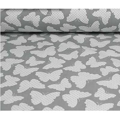 Хлопковая ткань Польша 50*160см Бабочки на сером