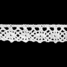 Хлопковое кружево 13мм, белое, С070, Польша