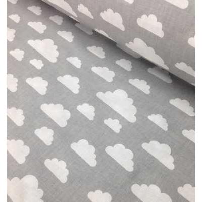 Хлопковая ткань Польша 50*160см Облака белые на сером