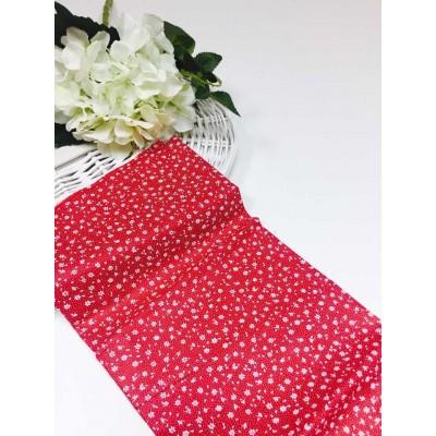 Хлопковая ткань Польша 50*160см Цветочки мелкие на красном