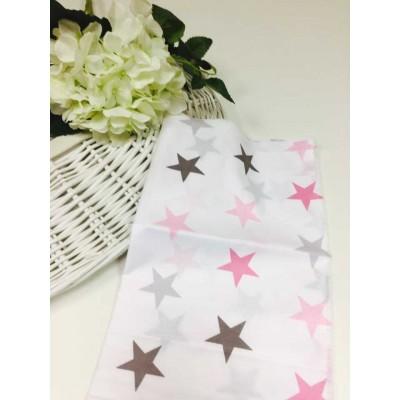 Хлопковая ткань Польша 50*160см Звезды большие розово-серые