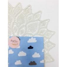 Хлопковая ткань Польша 50*160см Облака серо-белые на голубом