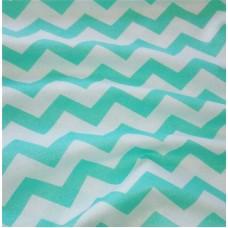 Хлопковая ткань Польша 50*160см Зиг-заг мятный