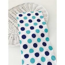 Хлопковая ткань Польша 50*160см Большие горошки цвет сине- бирюзовый