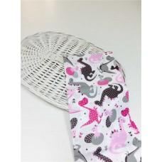 Хлопковая ткань Польша 50*160см Динозаврики розово-серые