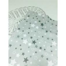 Хлопковая ткань Польша 50*160см Звезды серо-белые на светло-сером