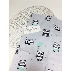 Ткань хлопковая Польша 50*160см Панды черно-мятные