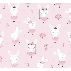 Хлопковая ткань Польша 50*160см Зайчики балерины на розовом