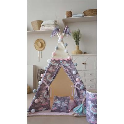 """Вигвам / типи , игровая палатка """"Волшебный единорог"""" светло-фиолетовый цвет, 100% эко-хлопок"""